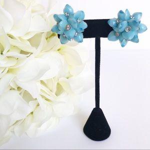 VTG Star Blue Rhinestone Flower Clip On Earrings